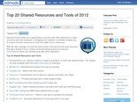 Top 20 Shared Resources and Tools of 2012