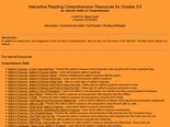 Interactive Reading Comprehension Resources for Grades 3-5
