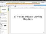 '54 Ways to Introduce Learning Objectives' -