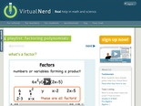 Virtual Nerd: Factoring Polynomials